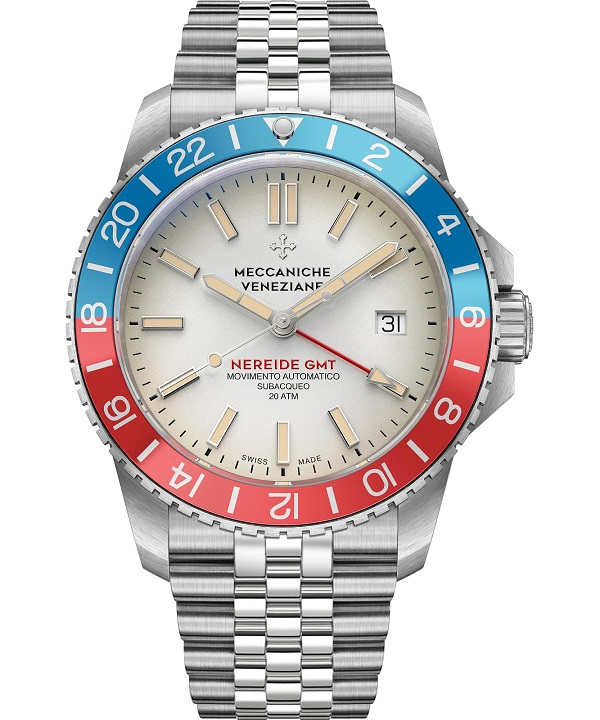 Zegarek męski Meccaniche Veneziane Nereide GMT Diaspro Crema Jubilee Automatic