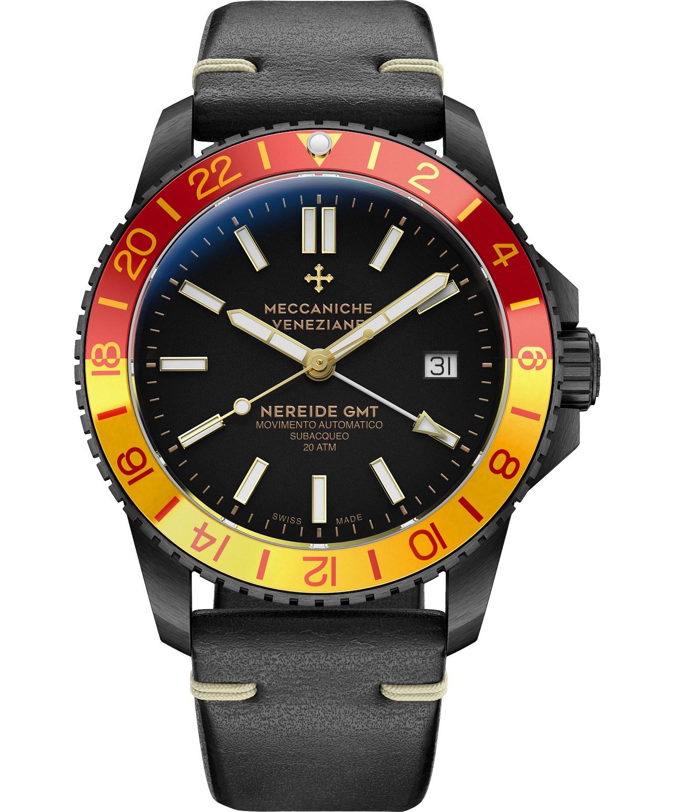Zegarek męski Meccaniche Veneziane Nereide GMT San Marco PVD Automatic