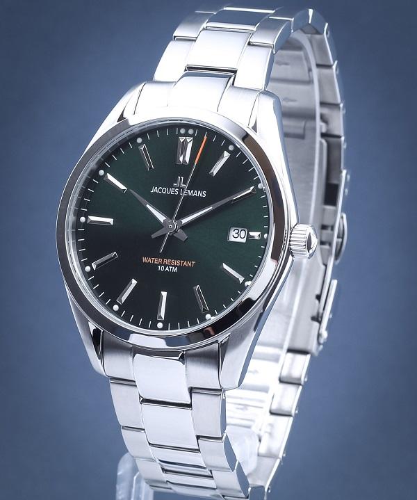Zegarek męski z zieloną tarczą Jacques Lemans